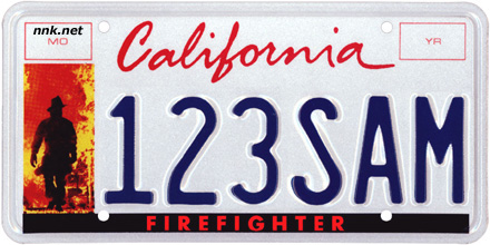 California Firefighter license plate