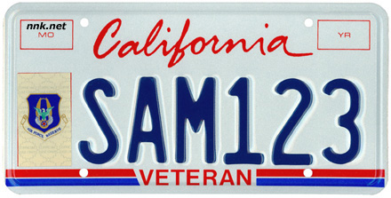 California Veteran License Plate